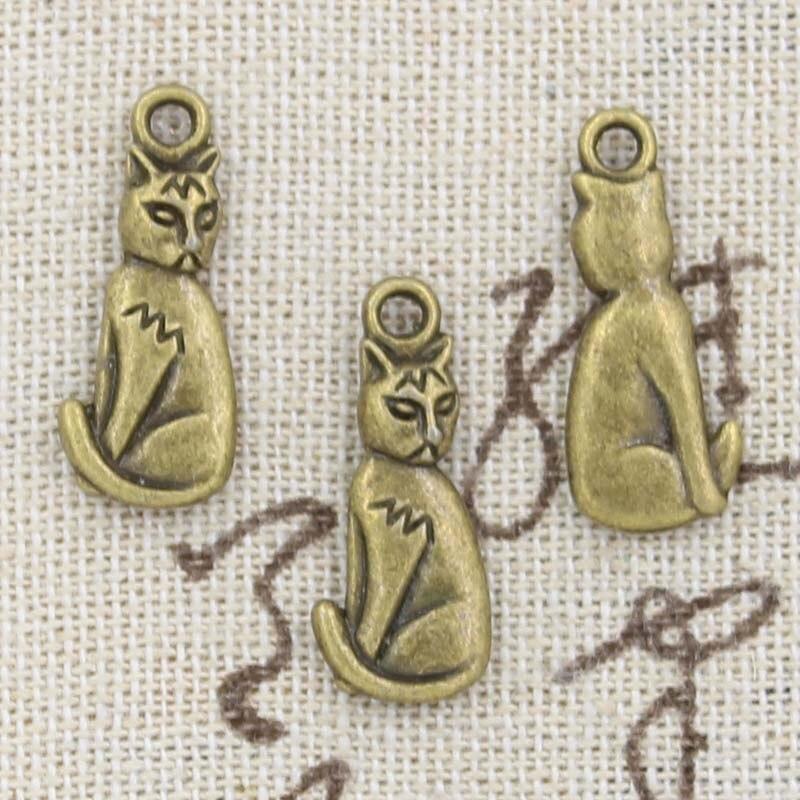 Encantos de 20 piezas gato 22x9mm artesanía hecha a mano Fabricación de colgantes fit, color plateado bronce tibetano Vintage, DIY para collar de pulsera