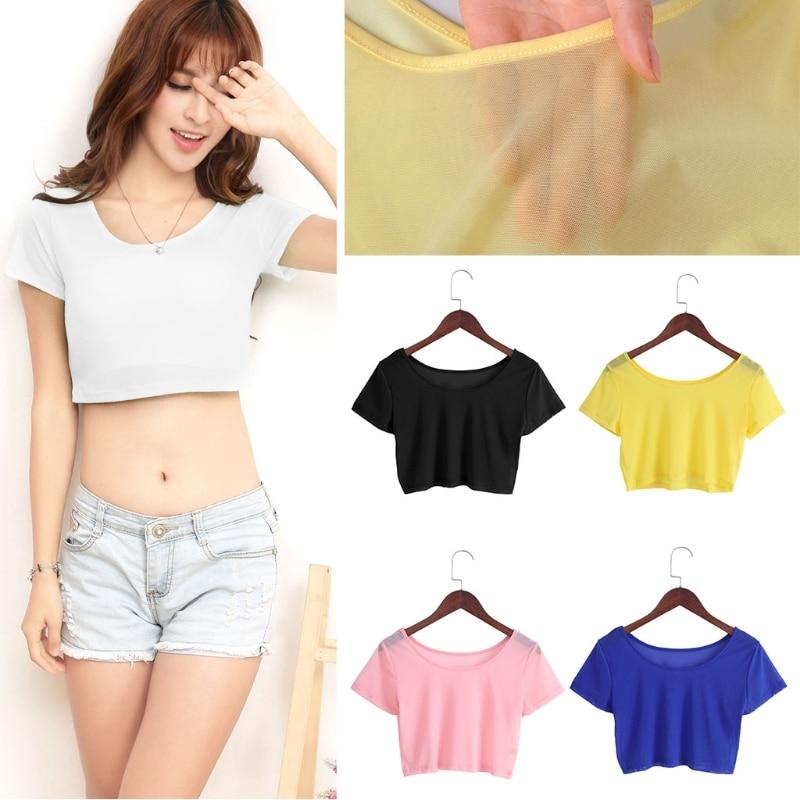 5 colores camisas mujeres Semi-transparente malla Crop Tops chica camisetas de manga corta Camisetas