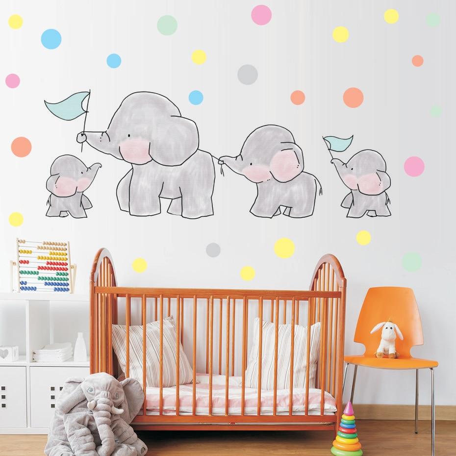 Cute Cartoon Elephants Polka Dots Wall Decals Art Vinyl Animal Wall Stickers for Nursery Baby Kids Room Girls Bedroom Home Decor