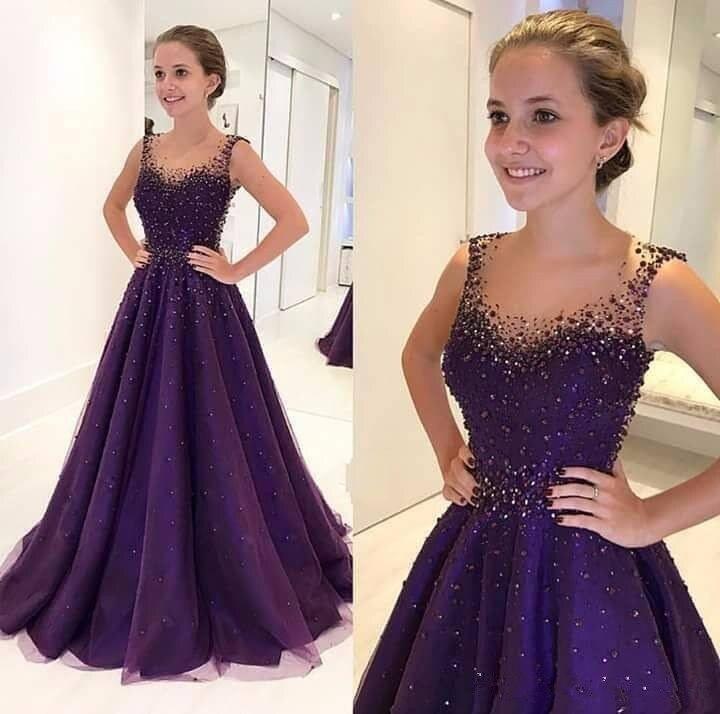 Фиолетовые мусульманские Вечерние платья соблазнительное ТРАПЕЦИЕВИДНОЕ