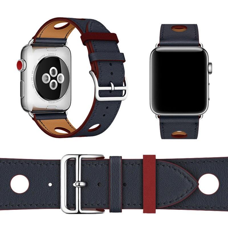 سوار المعصم 38-42 مللي متر لساعة Apple 1 2 3 جولة واحدة Rallye 6 Port Herm حزام الساعات من الجلد الطبيعي لسلسلة Apple 4 Band