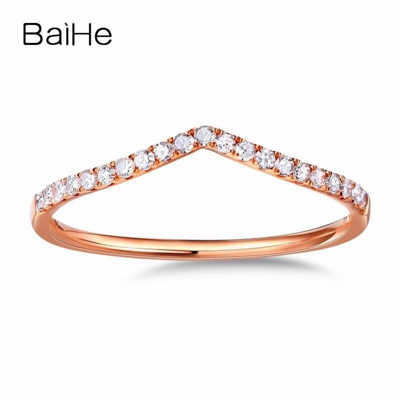 BAIHE sólido 14K oro rosa 0.13CT H/SI redondo anillo de diamantes naturales para las mujeres, Gargantilla dalformaci ón