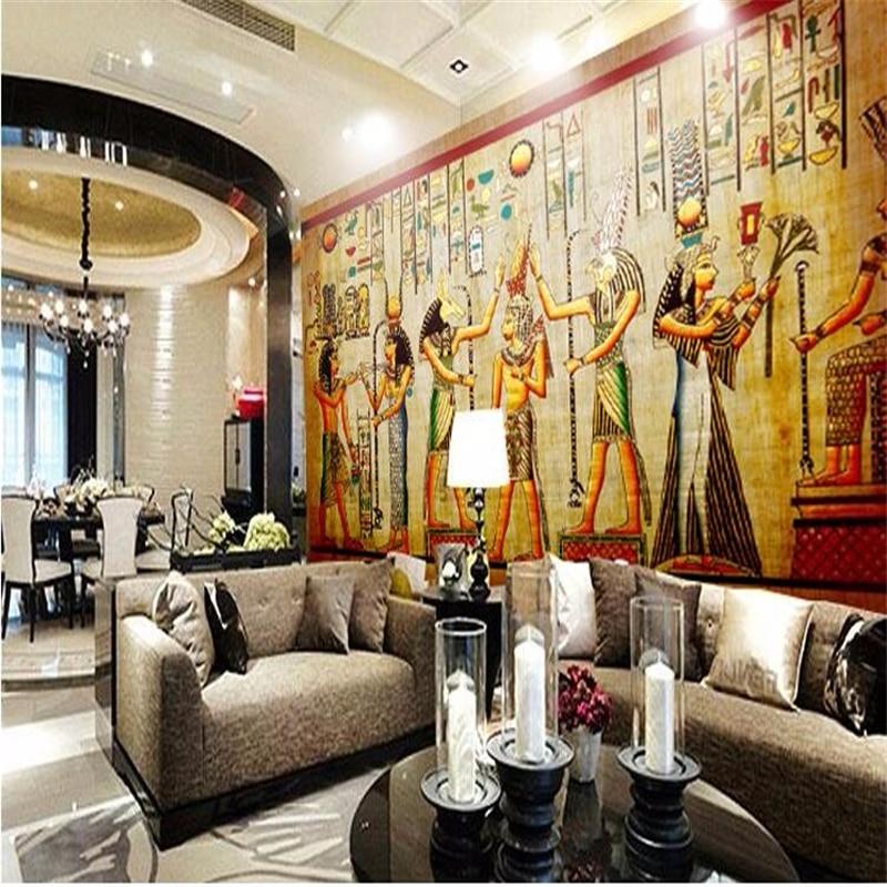 Beibehang personalizado foto papel de parede barra ktv personalidade retro pessoas faraó do egito pirâmides 3d mural parede para paredes 3d