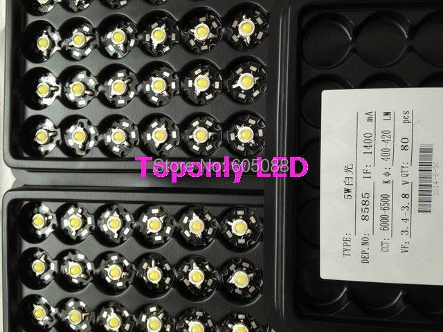 High Quality Bridgelux chips spot led lighting beads 5w round cob 6000-6500k white color DC3.4-3.8v 1400mA 400-420lm 1000pcs/lot