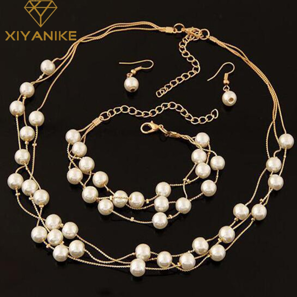 Imitation Pearl Jewelry Set Simulated Double Layer Women Earrings Necklace Bracelet Sets for Wedding N271