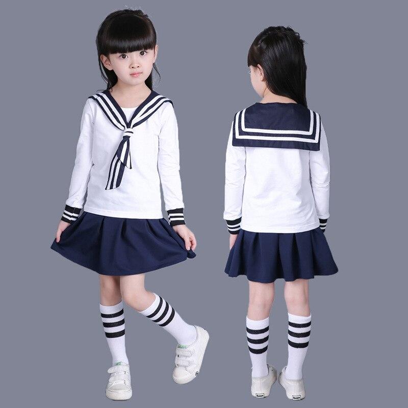 Outono 100% Algodão Meninas do jardim de infância Da Escola Classe Uniformes Escolares Marinheiro Japonês do Miúdo Meninos Uniformes de Marinheiro da Marinha