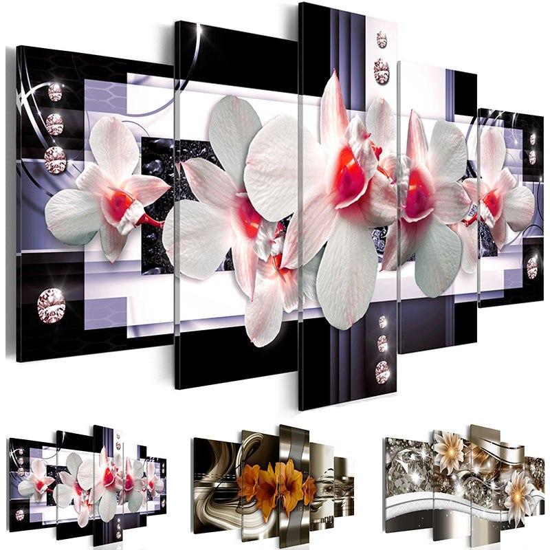 Современная живопись на холсте 5 панелей белые цветы орхидеи настенные художественные картины дешевая печать для украшения гостиной