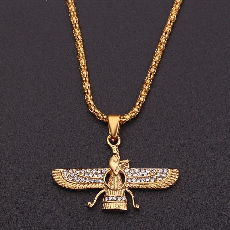 Cor do ouro colar de asa zoroastrian farvahar pingente liga zoroastrismo persa achaemenian masculino jóias colares