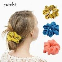 small fresh spring and summer chiffon simple head flower print hair ring cute bunch release art head hair accessories