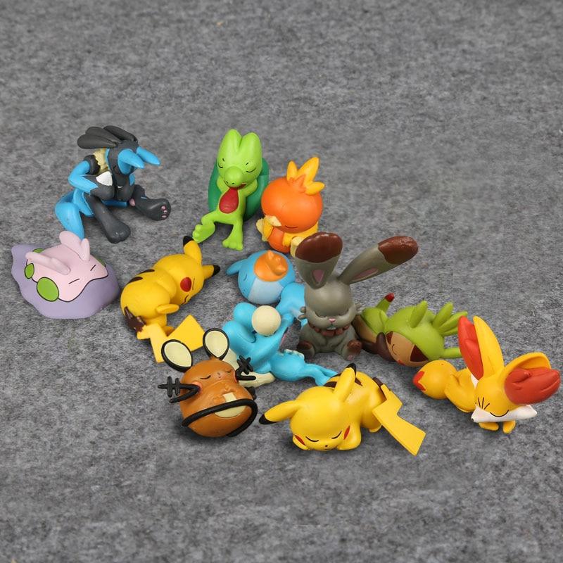 Anime de dibujos animados lindo dormir Lucario Mudkip Torchic Dedenne Froakie Fennekin Chespin Mini modelo de figuras de PVC juguetes 3-5cm