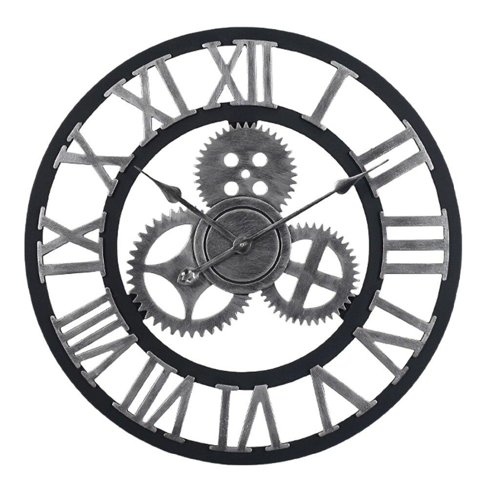 60 см, большие круглые Настенные часы, ретро стиль, Ретро стиль, кварц, тихий, висячая игла, часы для дома, гостиной, Декор, 2 цвета
