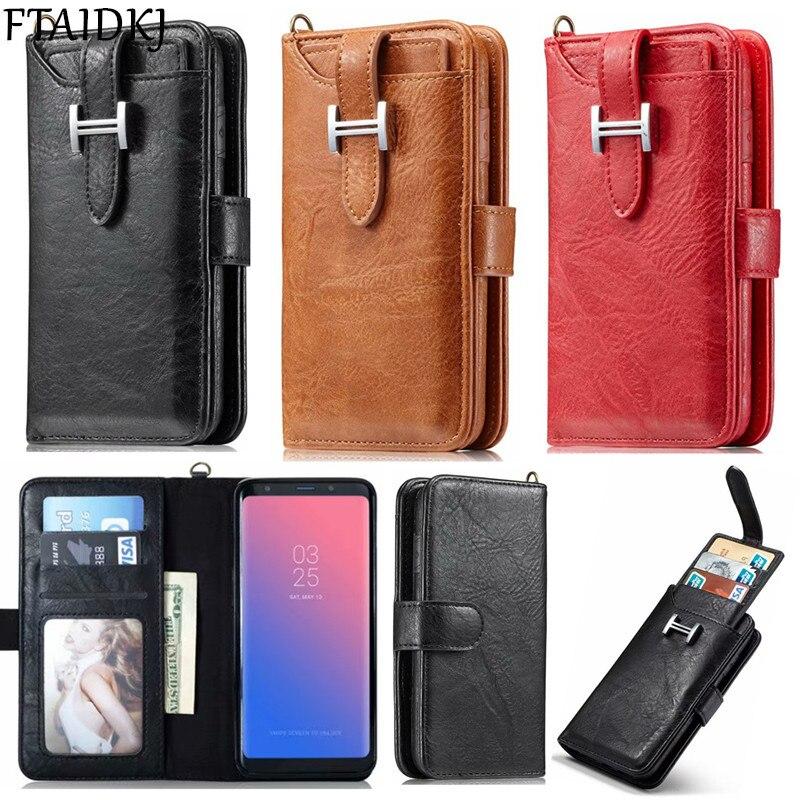 Cartera multifunción Vintage de cuero Flip Card funda para Samsung S7 S6 Edge S8 S9 Plus Note 8 9 bolso magnético desmontable