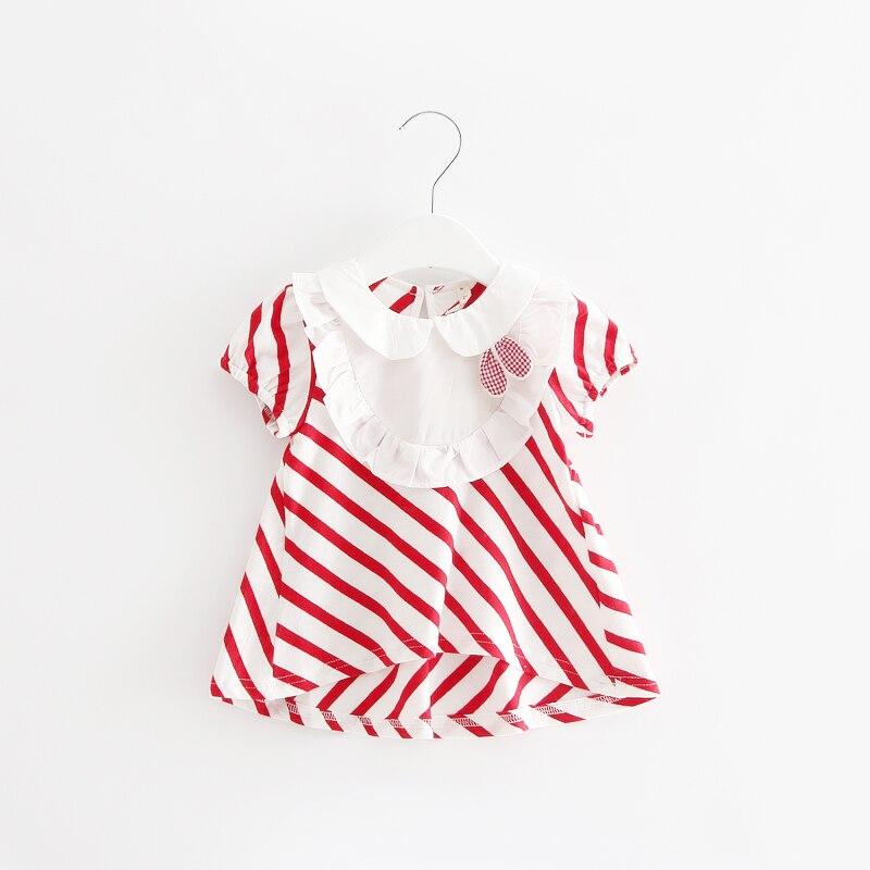 Vestido de verano para niñas recién nacidas, vestidos de algodón a rayas para bebés, ropa para niños pequeños con conejo de juguete