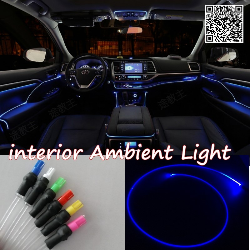 For Audi A2 1999~2005 Car Interior Ambient Light Panel illumination For Car Inside Refit Air Cool Strip Light Optic Fiber Band