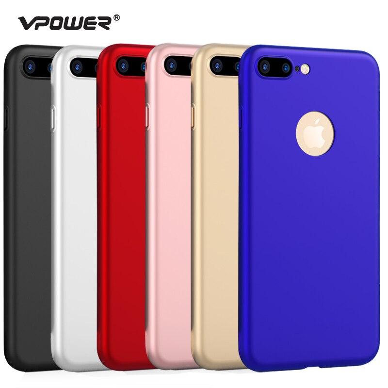 Para iphone 7 PLUS VPOWER Ultra Thin 360 funda completa + Protector de pantalla de vidrio templado para iPhone 7 plus cubierta de cuerpo completo