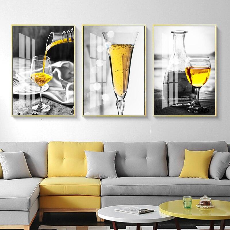 Nórdico Cartaz Preto e Branco Pintura Da Lona Da Cópia Da Arte Da Parede De Vidro do Vinho Licor retratos da parede para Sala de estar Moderna Casa decoração