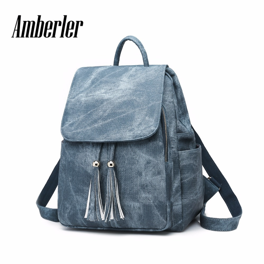 Amberler Women Backpack PU Leather Shoulder Bag Female Famous Brand Ladies Laptop Travel Backpacks School Bags For Teenage Girls
