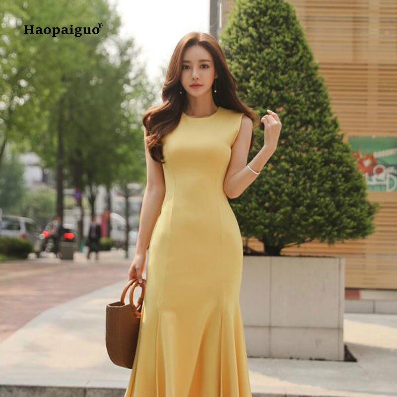 2020 Plus Size Mermaid Dress Women Summer Yellow Sleeveless O-neck Mid-calf Vintage Elegant Dress Party Club Dresses Moda Mujer