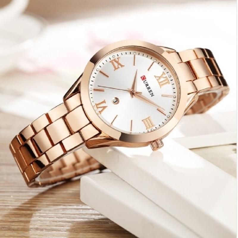 CURREN Watch Women Full Steel Rose Gold Ladies Dress Wristwatch Bracelet Fashion Women's Quartz Watches Clock bayan kol saati enlarge