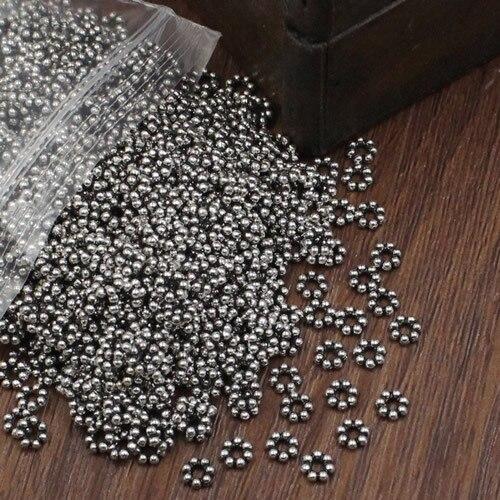 500 unids/lote espaciador de cuentas de Metal de aleación de zinc redondos cuentas DIY joyería que hace los accesorios 5mm agujero 2mm (K02822)