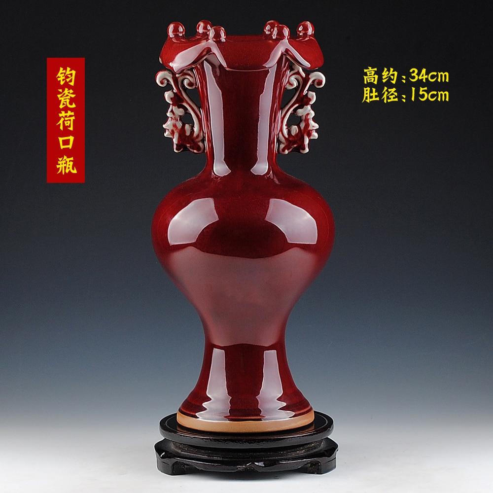 Jingdezhen Hongxuan cerámica antigua adornos para manualidades jarrón de porcelana muebles vintage y adornos botella boca de loto