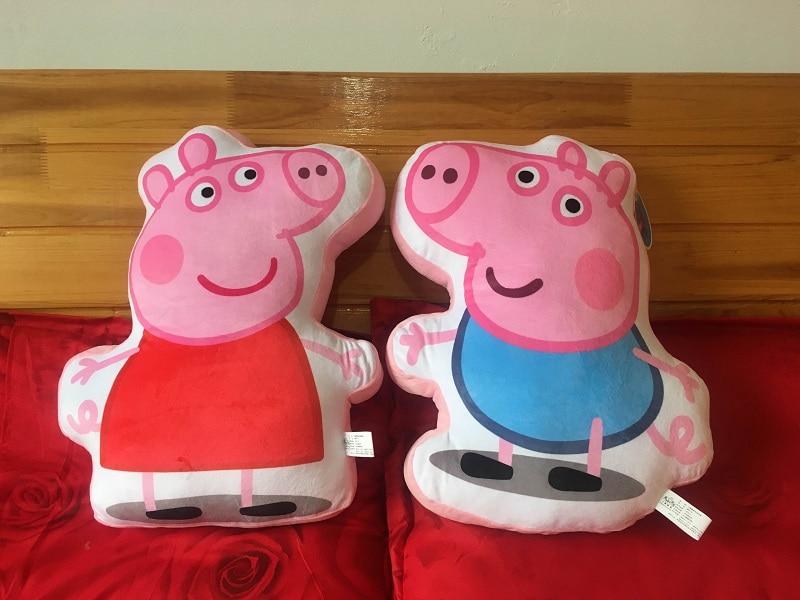 1 pièces 45*35cm Biscuits oreiller véritable Peppa cochon en peluche Animal coussin oreiller cadeau pour enfants enfants coussin famille coussins