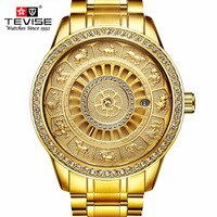 TEVISE Men Automatic Mechanical Watch Skeleton Zodiac Watches Self-Winding Waterproof Top Luxury Gold Clock Relogio Masculino