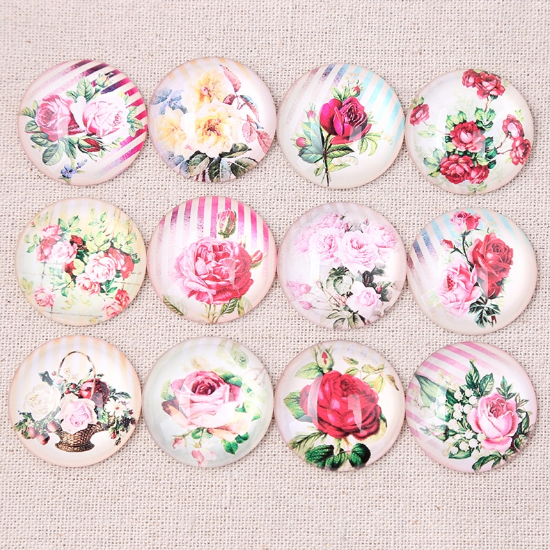Onwear mix flor rosa foto rodada cabochão de vidro cúpula pingente jóia diy 14 10 12 20mm mm mm mm 30 25 18mm mm mm