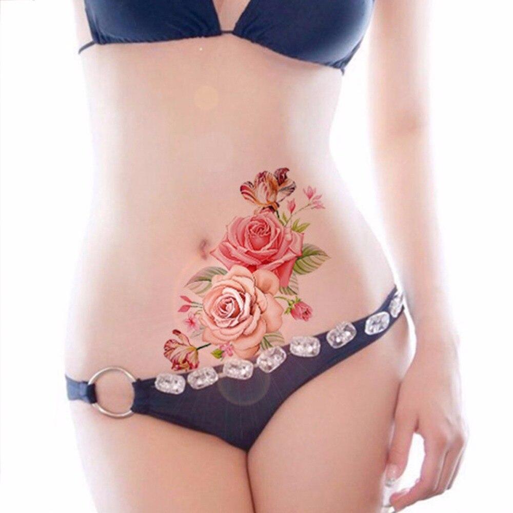 Tatuaje temporal de imitación árabe indio, tatuaje para brazo hombro con flor rosa, impermeable, para mujer, gran flor en arte corporal