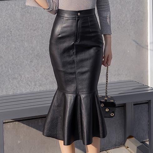 Elegant  PU leather Skirt  Fashion package hip High Waist slim Mermaid skirt women