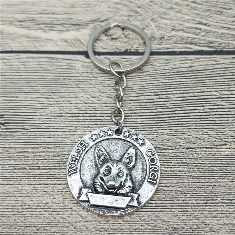 New Trendy Retro Welsh Corgi Key Chains Fashion Pet Dog Jewellery Welsh Corgi Car Keychain Bag Keyri