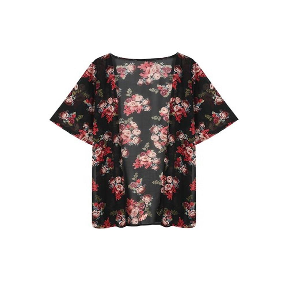 Kimono informal para mujer, kimono retro para mujer, de verano, largo, de chifón, negro, suelto, estampado de plantas, blusa, Rebeca negra