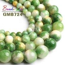 Naturel jaune vert Jades pierre ronde lâche perles entretoise pour la fabrication de bijoux Pick taille 6 8 10 12 MM bricolage perles Bracelet 15 pouces