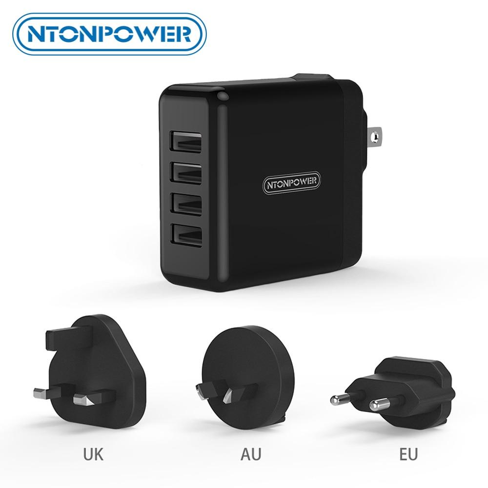 Cargador Universal de teléfono móvil NTONPOWER 4 USB adaptador de viaje UK/EU/AU/US 34W cargador de pared USB para Tablet/iPhone/teléfono Android