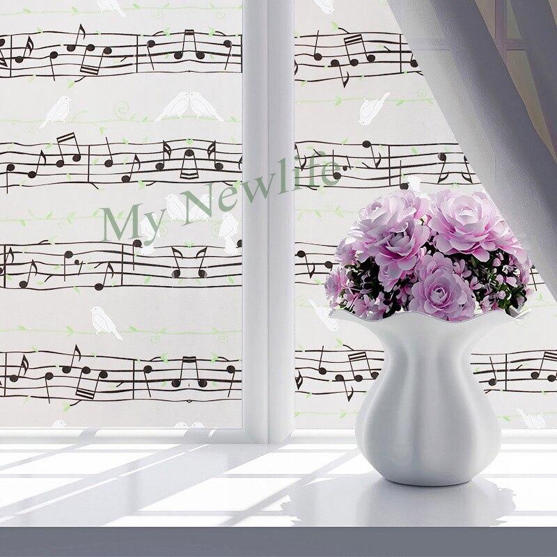 Película de vidrio de dibujos animados de Note and birds, pegatina de vidrio para decoración del hogar, esmerilada autoadhesiva película decorativa, lámina para ventana, ancho 90cm