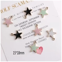 new 10pcs zinc alloy 4 colors enamel charms personality border pentagram star charms for diy jewelry making finding accessories