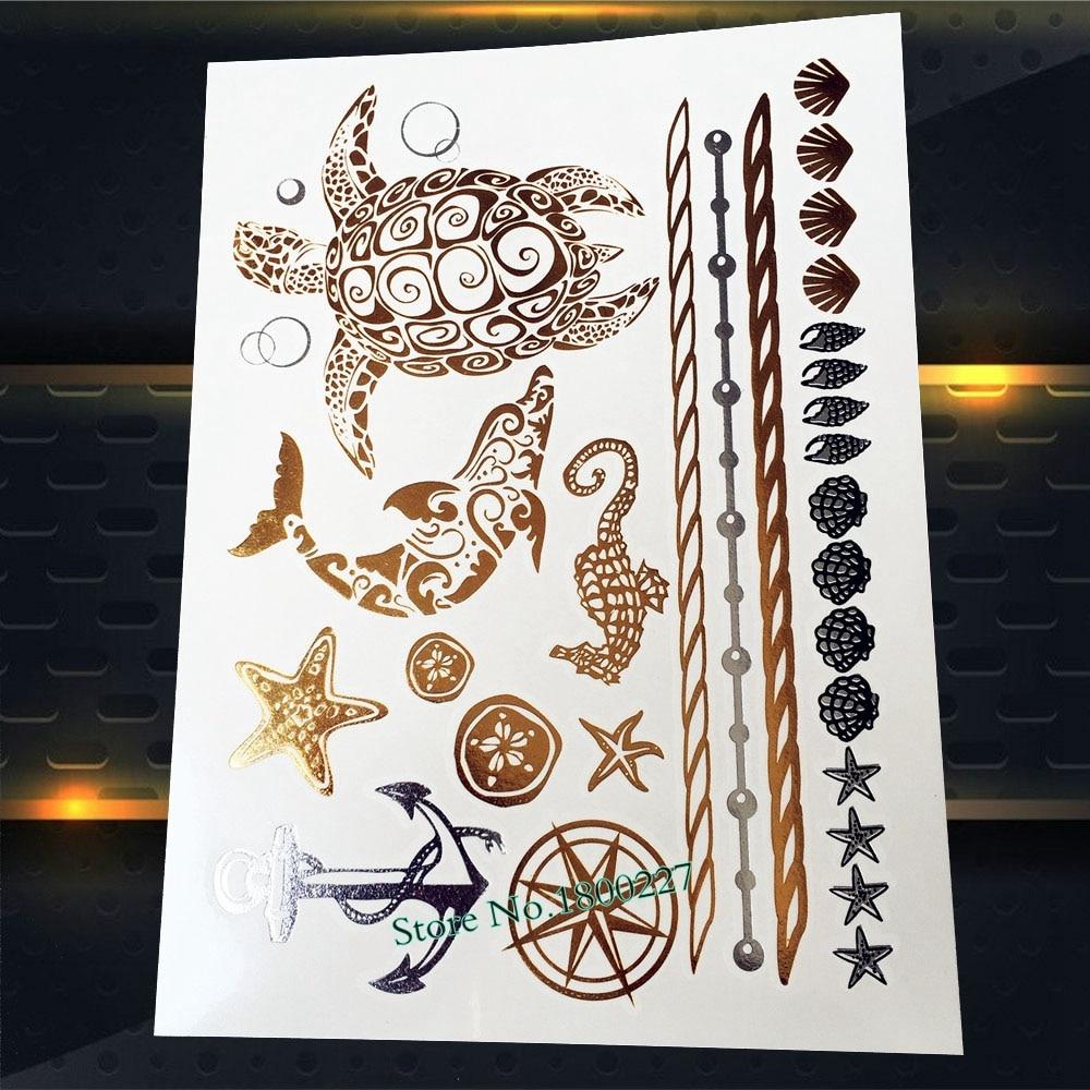 1 pieza de la mejor calidad Flash tatuaje metálico impermeable pegatina ancla plata PYS-63 oro delfín Concha tatuaje falso de diseño tortuga 3D