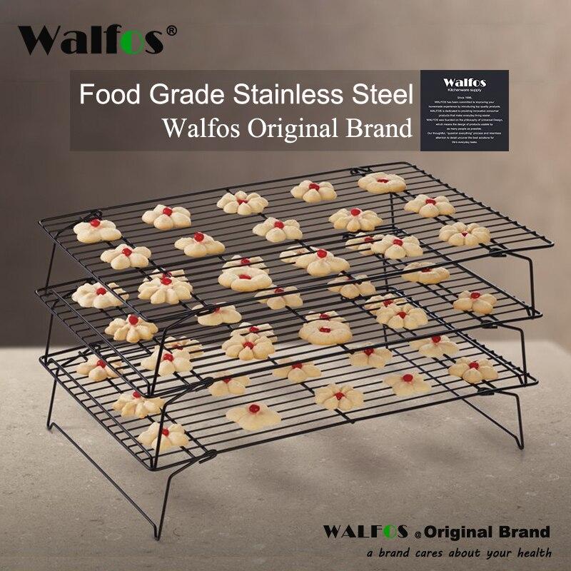 WALFOS 3-слойная стекируемая охлаждающая стойка, металлическая стойка для печенья торта, печенья, хлеба, охлаждающая стойка, сетка мат, держате...