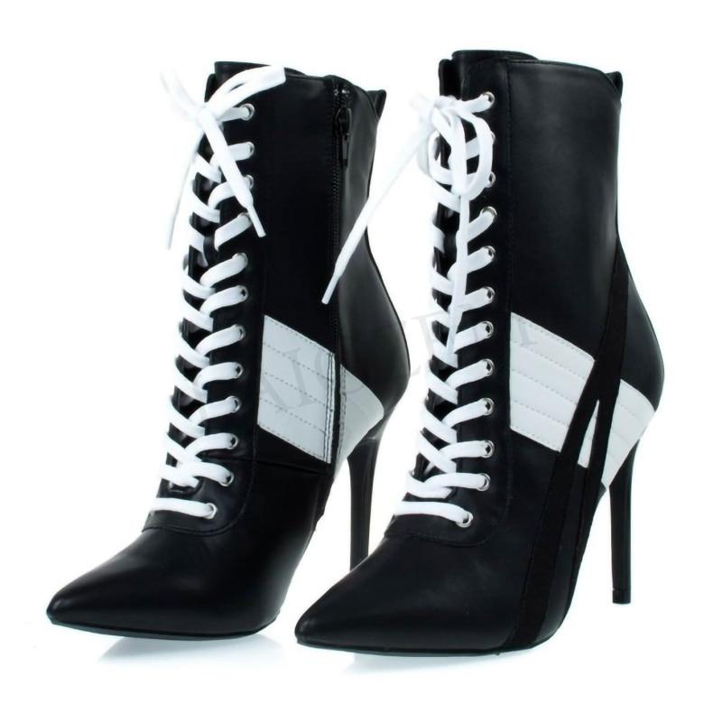 LAIGZEM-أحذية نسائية برباط أسود وأبيض ، أحذية نسائية ، سحاب خلفي ، كعب عالي ، الكاحل ، مقاس كبير 34-47