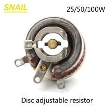 25 w 50 w 100 w feito de cerâmica, potenciômetro, forma de disco, resistor ajustável, rheostat deslizante
