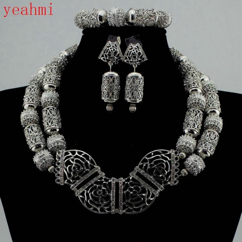 Cuentas de conjuntos de joyas africanas finas, accesorios de boda nigerianos, Collares nupciales, conjunto de collar de pendiente, chapado en plata Dubai