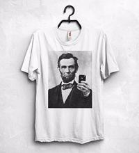 Nowa koszulka wysokiej jakości koszulka z abrahamem lincolnem Selfie iPhone T Shirt Top stany zjednoczone ameryka USA prezent letnia koszulka