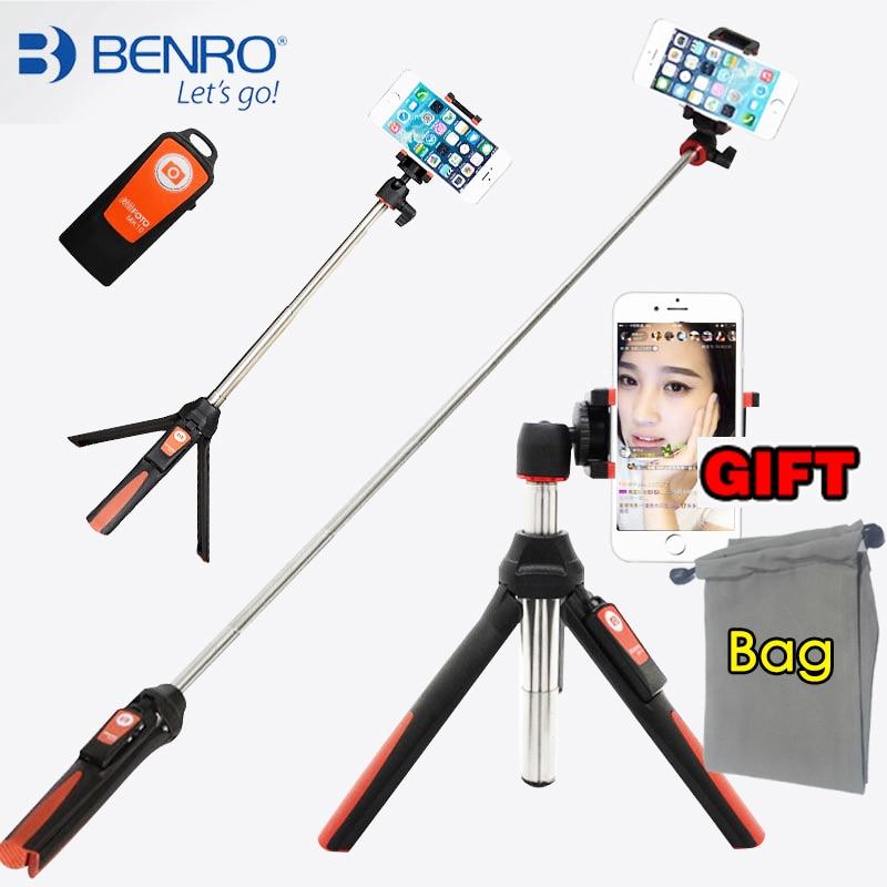BENRO Handheld mini Stativ für Telefon 3 in 1 Selbstporträt Einbeinstativ Selfie Stick mit Bluetooth-fernauslöser für smartphone