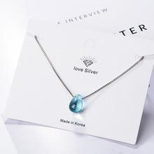 Dainty 925 argent Sterling bleu cristal pendentif Collier larme sans Collier femmes Choker Bijoux Minimaliste Collier Femme SN009