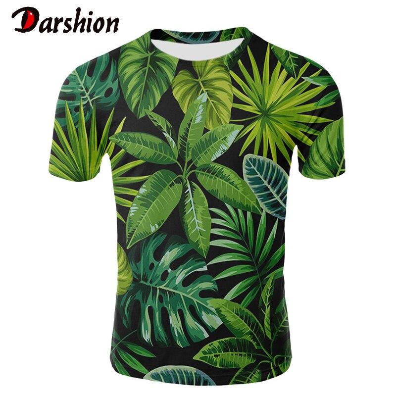 2019 3D hoja camiseta con planta de manga corta para hombres de cuello redondo Animal cebra hombres señoras Tops camisetas verde hojas flores Casual camisetas