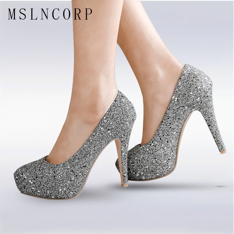 Zapatos de tacón alto de talla grande 34-48 para mujer, tacones de moda brillantes, zapatos de tacón alto para mujer, zapatos sexis DE BODA dorados y plateados