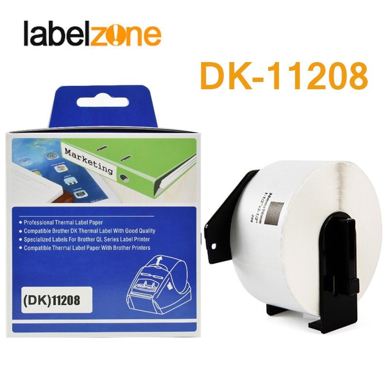 Papel térmico DK-11208 38mm x 90mm, 1 rollo, Compatible con impresora de etiquetas Brother, papel blanco DK11208 DK, papel 208 para QL-500