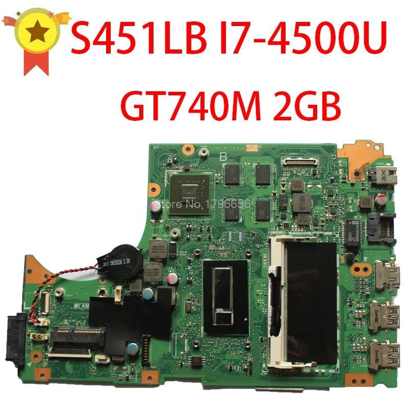 Для ASUS S451 S451L V451 V451L S451LN S451LB материнская плата для ноутбука s451lb материнская плата i7-4500u gt740m 2gb не интегрированная 100% протестированная