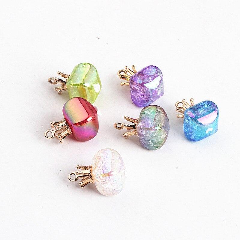 6 uds bling corona tamaño 14*24mm aleación encanto DIY accesorios de collar colgantes para pulsera pendientes y Diadema accesorio hecho a mano