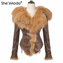ShesModa Licht Gewicht Echt Vossenbont Fleece Slanke Winter vrouwen Rits Hoodie Motorcycle Jasje Plus Size